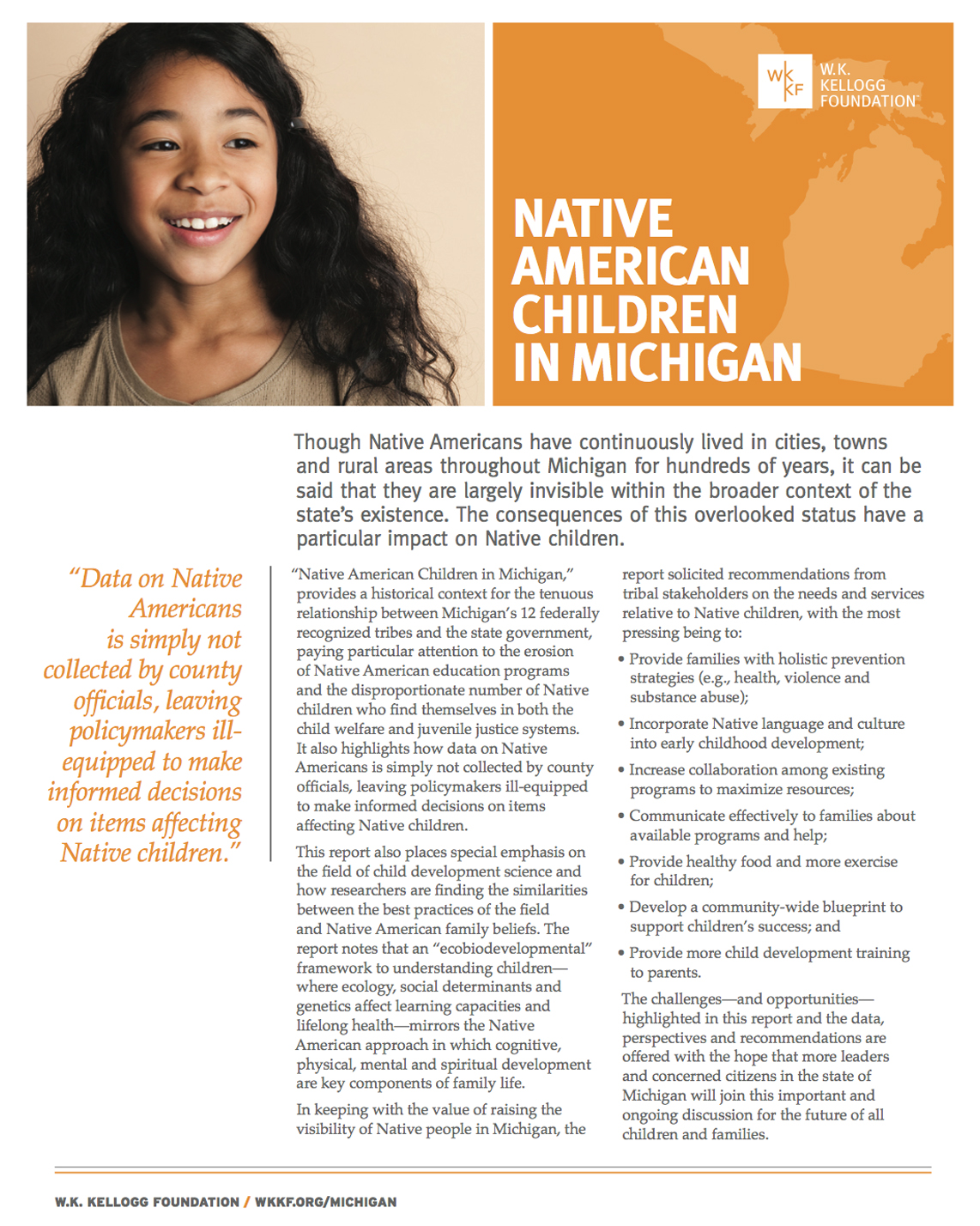 Native American Children in Michigan - Executive Summary - W.K. Kellogg Foundation